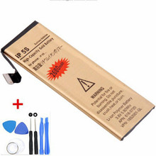 Brand New High Capacity Gold li-lon Replacement Battery for iPhone 5S with 8 in 1 Repair tools kits