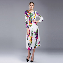 2017 Autumn Fall Plus Size XXL Women Day Casual Dress Ladies Famale Long Dresses Mid-Calf Full Sleeve White Floral Printed