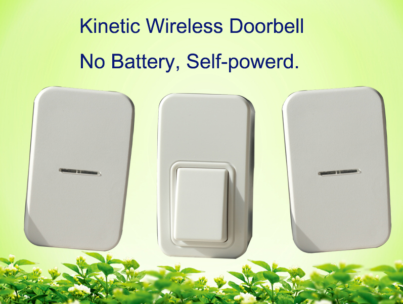 No battery wireless doorbell 1 push button+2 door chime .120m range home door bell with EU US UK AU plug waterproof door bell<br>