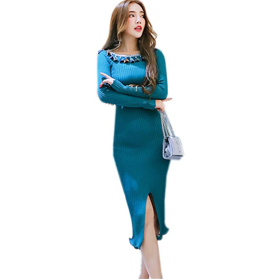 2018 Korean Fashion Autumn Winter Sweater Dress Women Ethnic Tassel Ruffle Hem Long Knitted Bodycon Dresses Party VestidosÎäåæäà è àêñåññóàðû<br><br>