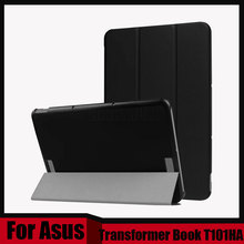 "Ultra Slim Custer 3-Folder Folio Stand PU Leather Magnetic Cover Case For ASUS Transformer Book T101HA 2016 10.1"" + Stylus"