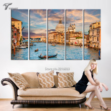 5 Piece Canvas Art Landscape Venice Italy Painting On Canvas Water City Skyline Large Wall Pictures for Living Room (No Frame)