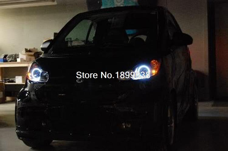 for Smart ForTwo 2008-2015 SMD LED Headlight Halo Angel Demon Eyes Ring Kit with 3 colors white red blue<br>