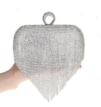2017 Tassel Rhinestone Finger Ring Evening Bags Diamonds Wedding Handbags Women Day Clutch Mini Purse Bag With Chain Mixed Color