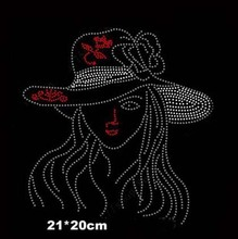 2pc/lot Beauty girl hot fix rhinestone iron on crystal transfers design sticker  rhinestone appliques for shirt