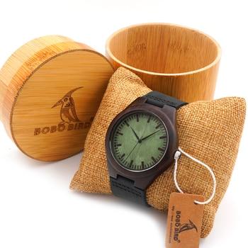 BOBO OISEAU F03 Vintage Noir Bois Montres Avec Réel En Cuir Top Brand Design de bande Hommes Montres À Quartz Avec Ronde Bambou boîte