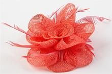 8cm Feather Sinamay Fascinator Flower Headpiece Wedding Hair Acessories Handmade Brooches WIGO0508
