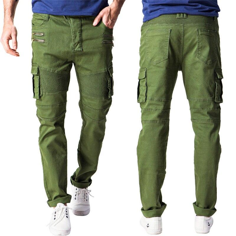 2016 European style Mens Skinny Biker Jeans Multi Pockets Cargo Pant  pop Army Green Mens Pleated Pencil Straight slim JeansÎäåæäà è àêñåññóàðû<br><br>