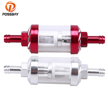 "POSSBAY Chrome/Red Carved Motorcycle Fuel Filter Motorbike Liquid Oil Gas Petrol Filter 5/16"" 8mm Universal For Honda cb 400"