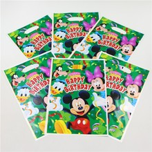 100pcs/lot mickey and minnie mouse Gifts Shopping Bags Happy Birthday Party Decoration Loot Candy Bag Baby Boy Shower Supplies(China)