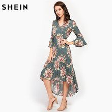 Buy SHEIN Tie Neck Flare Sleeve Frilled Dip Hem Dress Multicolor Floral Print V Neck Three Quarter Length Sleeve High Low Dress for $21.97 in AliExpress store