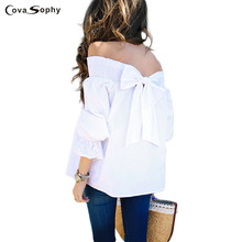 Cova Sophy 2017 Women Autumn Fashion Shirts Three Quarter Bow White Slash Neck Off Shoulder Tops Sexy Puff Sleeve Blouses