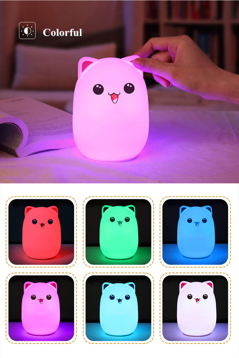 Colorful LED Night Light Lovely Silicone Cartoon Bear Rechargeable Touch Desk Bedroom Decor Tablet Lamp for Kids Girl (4)