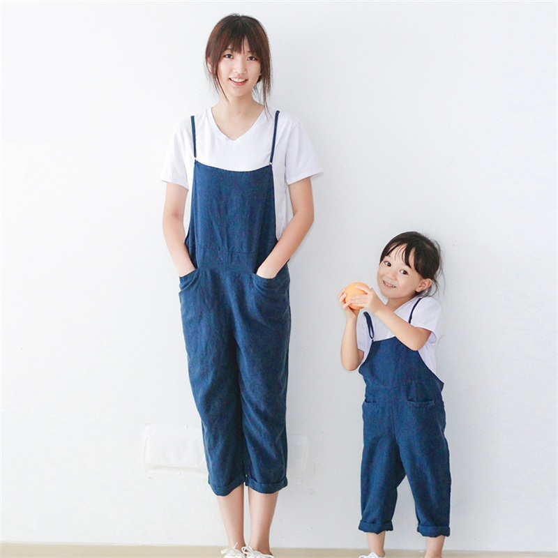 brand super soft cotton linen pant navy mom father girl rompers bib family clothes women jumpsuit mother daughter matching pants<br>