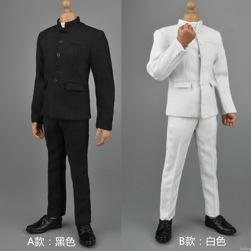 ZY16-16 1/6 Male Chinese Tunic Suits Black/White Color For 12 inches Action Figure<br>