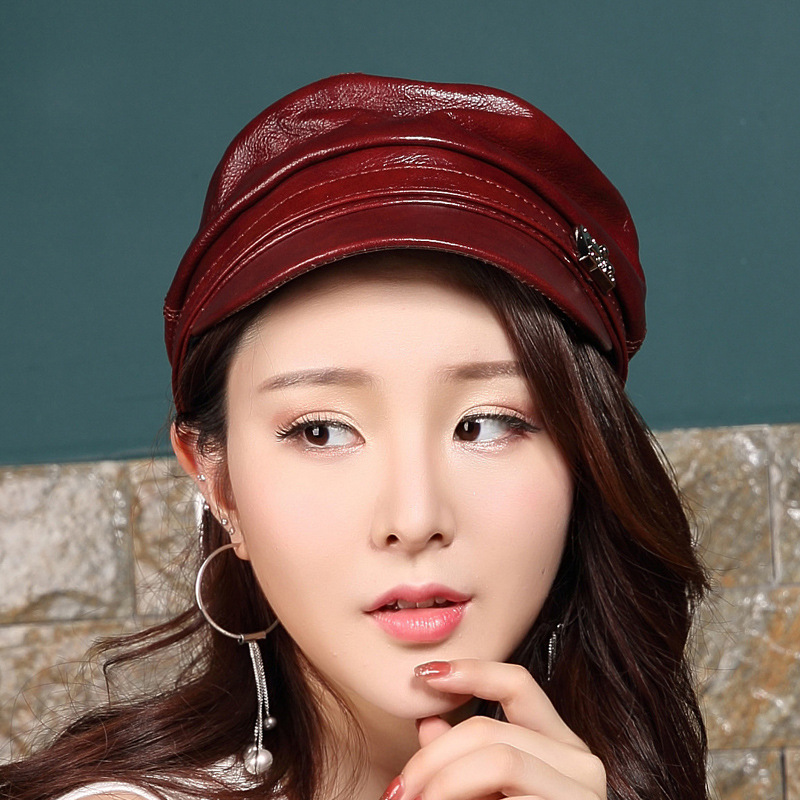 Cowhide Leather Hat male winter ladies casual leather hat flat cap youth<br>