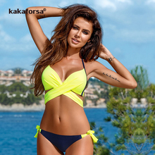 Buy Kakaforsa 2018 Sexy Cross Bandage Bikini Set Halter Brazilian Biquini Swimwear Women Push Summer Beach Bathing Suit Swim Wear