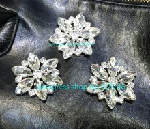 5pcs/lot 43mm round glass mariquesa crystal rhinestone button sewing on for fur coat bag big coat costume shoes sewing accessory