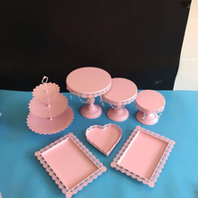 7 pieces pink cake stands children party cupcake stand decorating cooking cake tools bakeware set party dinnerware