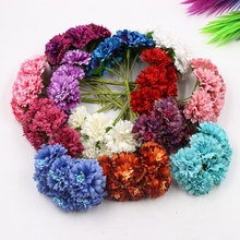 3.5cm Silk Fabric Artificial Chrysanthemum Daisy Bouquet Bust Flower Wreath Wrapping Clip Wedding Decorative Artificial Flower