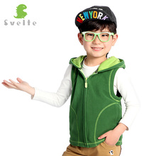 Svelte Brand for Children Boys Girls Unisex Candy Color Fleece Hooded Vest Kids Full Zip Gilet Waistcoat Boy Girl Clothes(China)