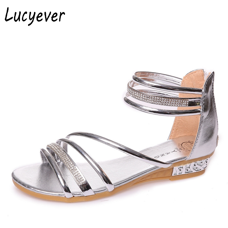 Lucyever Sexy Women Comfortable Low Heels Sandals Gold Silver Glitter Summer Shoes Woman Fashion Rhinestones Gladiator Sandals <br><br>Aliexpress