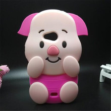 Cover For Microsoft 535 Soft Silicone Phone Case For Nokia Lumia 535 3D Cartoon Rose Red Big Ears Pig
