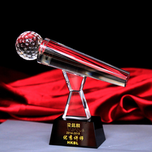 Clear Crystal Singing Contest Sing KTV Microphone Trophy Cup Music Fans Awards(China)