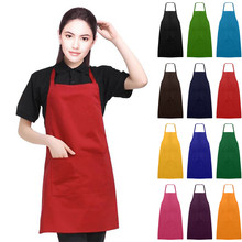 Apron New Plain Unisex Cooking Catering Work Apron Tabard with Twin Double Pocket polyester(China)