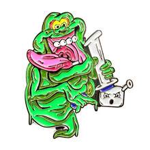 Ghostbusters Slimer Stay Puft Marshmallow Man Bong Rip Stoner Pin(China)