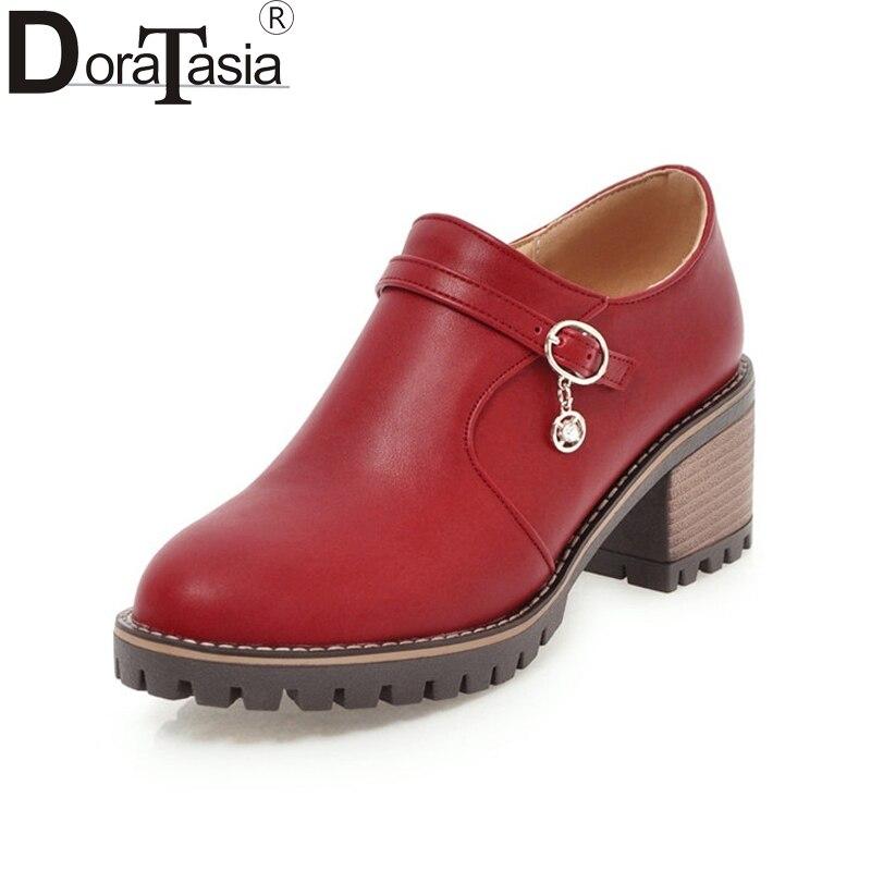 DoraTasia 2018 New Women Chunky Heel Zipper Clousre Spring Shoes Woman Round Toe Platform Pumps Big Size 33-43<br>