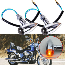 2pcs Universal Motorcycle Silver Bullet Turn Signals Light Lamp Indicator for Harley Chopper Bobber Custom Honda ATV Dirt Bike