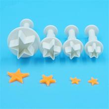 4Pcs/Set Mini Star Fondant Cake Decorating Plunger Biscuit Cookies Cutter Diy Mold Christmas Cake Decorating Tools D973