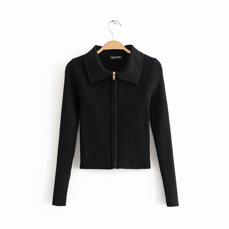 Woman Knitted Cardigan Turn-down Collar Double Zipper Sweater European Style Solid Color Tight Short Crop Tops Streetwear 929 (7)