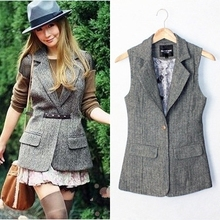 British Style Plus Size Autumn and Spring Slim Woolen Suit Vest Women Herringbone Waistcoat(China)
