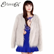 Autumn Winter Women Artificial Fur Coat 2017 New Women Fake fur Long-sleeved Clothing Large size Top Round neck Outerwear ONE991