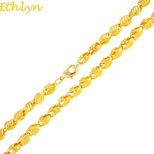 Ethlyn Handmade Length 50CM width 3MM,New Ethiopian THICK Necklace Gold Color Africa Eritrea Chunky Chain Dubai/Arab N034(China)