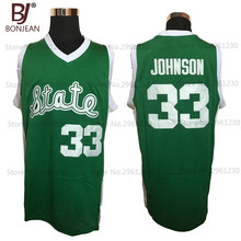 BONJEAN Cheap Magic Earvin Johnson #33 State College Stitched Green Throwback Basketball Jerseys(China)
