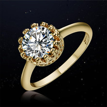 SHUANGR Hot Sale Austrian Crystal Engagement Ring Jewelry 3 Colors Claasic Simple Design Wedding Rings For Women Size 7 8 9