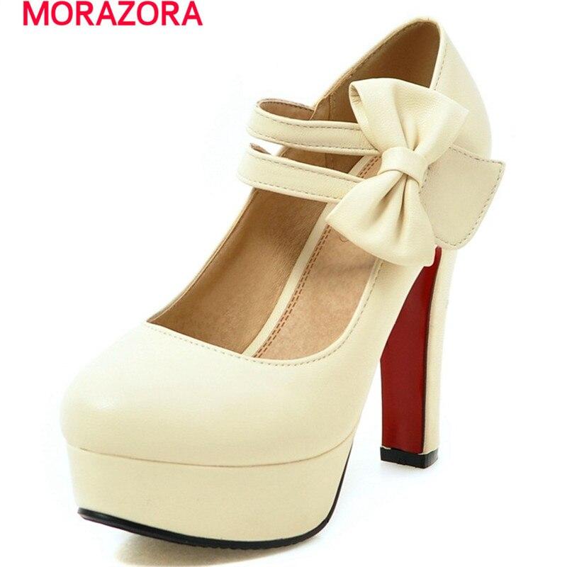 MORAZORA Fashion sweet high heels shoes 12cm shallow women pumps wedding shoes big size 34-47 platform shoes bowtie<br>