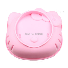 6 inch pink hello kitty cake mold Thickening silicone Cartoon cake baking mold Free shipping !!!