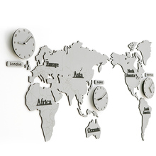 138*63*0.5CM White Gray World Map Large Decorative Wall Clock Modern Design Fashion Silent Meeting Room Wall Decor Clocks