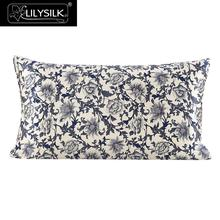 Lilysilk 100% Silk Pillow Cover 16 Momme Blue & White Pure Mulberry Silk Free Shipping(China)