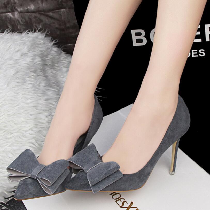 {D&amp;H}Brand Shoes Woman High Heels Women Pumps 2017 Flock Sweet Bowtie Thin Heel Wedding Shoes Valentine Shoes dames schoenen<br><br>Aliexpress