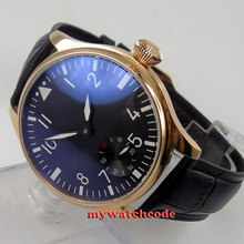 44mm parnis black dial rose golden case 6498 hand winding mens watch P503(China)