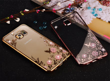 Fashion Diamond Flowers Pattern Back Cover Soft Bling Phone case For Samsung Galaxy S3 4 5 6 7 8 edge Note2 3 4 5 A3 5 7 J3 5 7(China)