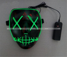 1 Pc Green Horror Grimace EL Wire Led Luminous Mask Halloween Party Glowing Full Face Mask 48817147 SMB(China)