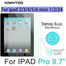 Tempered Glass for Apple ipad 2 3 4 5 6 Mini 1 2 3 4 pro Blue Flat HD Explosion Proof Screen Protector Film Guard Cover Case