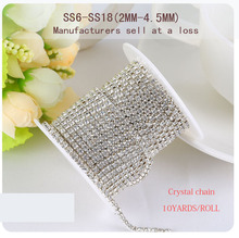 Manufacturer sales Deal 2mm-4.5mm 10yards high quality silver base clear crystal Rhinestone Chain,DIY/clothing accessories(China)