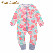 Bear Leader Baby Girls Rompers Flower Pattern Long Sleeve Newborn Jumpsuits Autumn/Winter Baby Clothes Suits Zip Infant Clothing